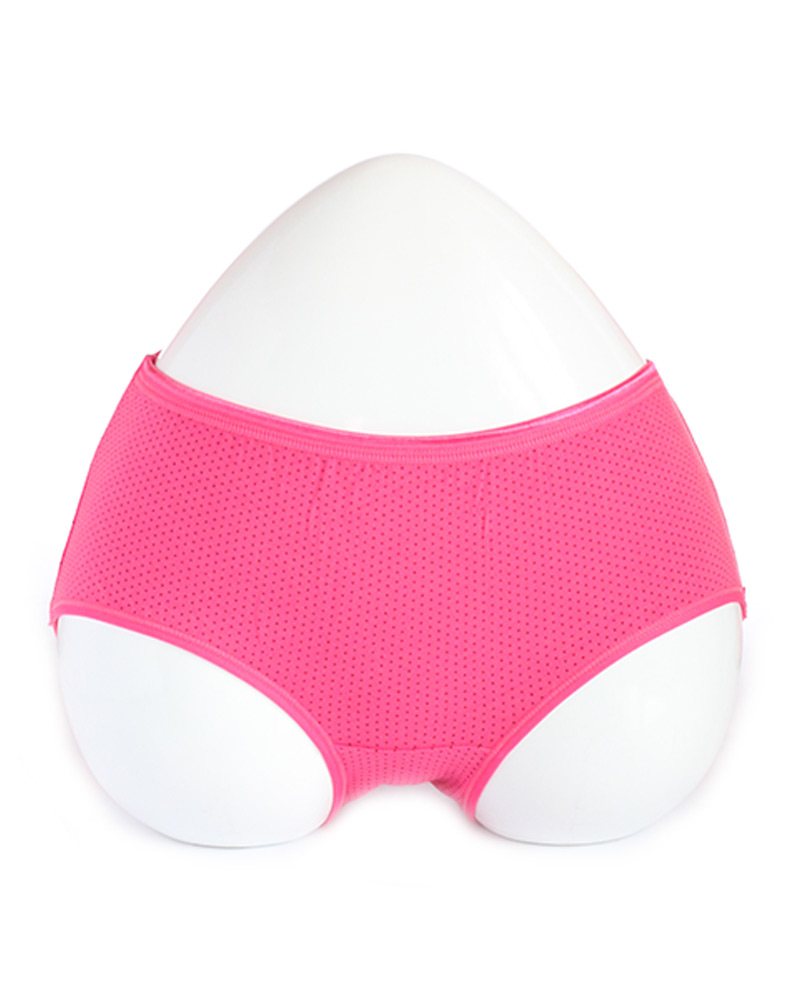 Magenta Dotted Mid Waist Cotton Panty