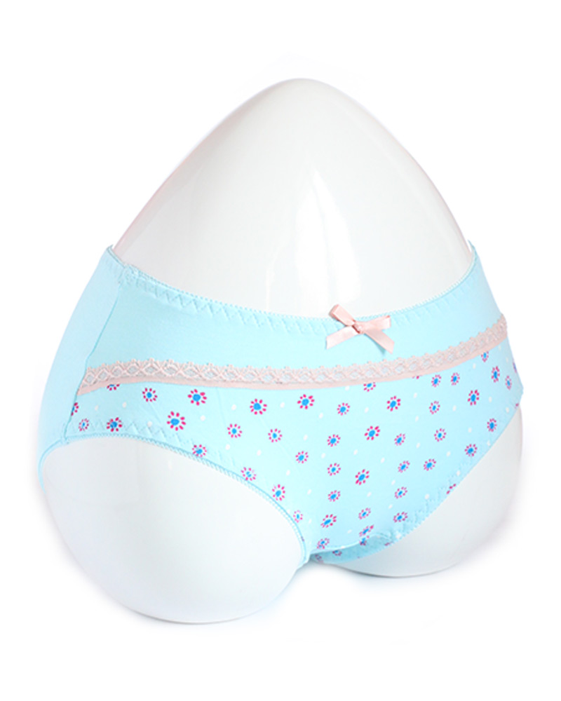 Sky Blue Stylish Printed Cotton Panty with Lace
