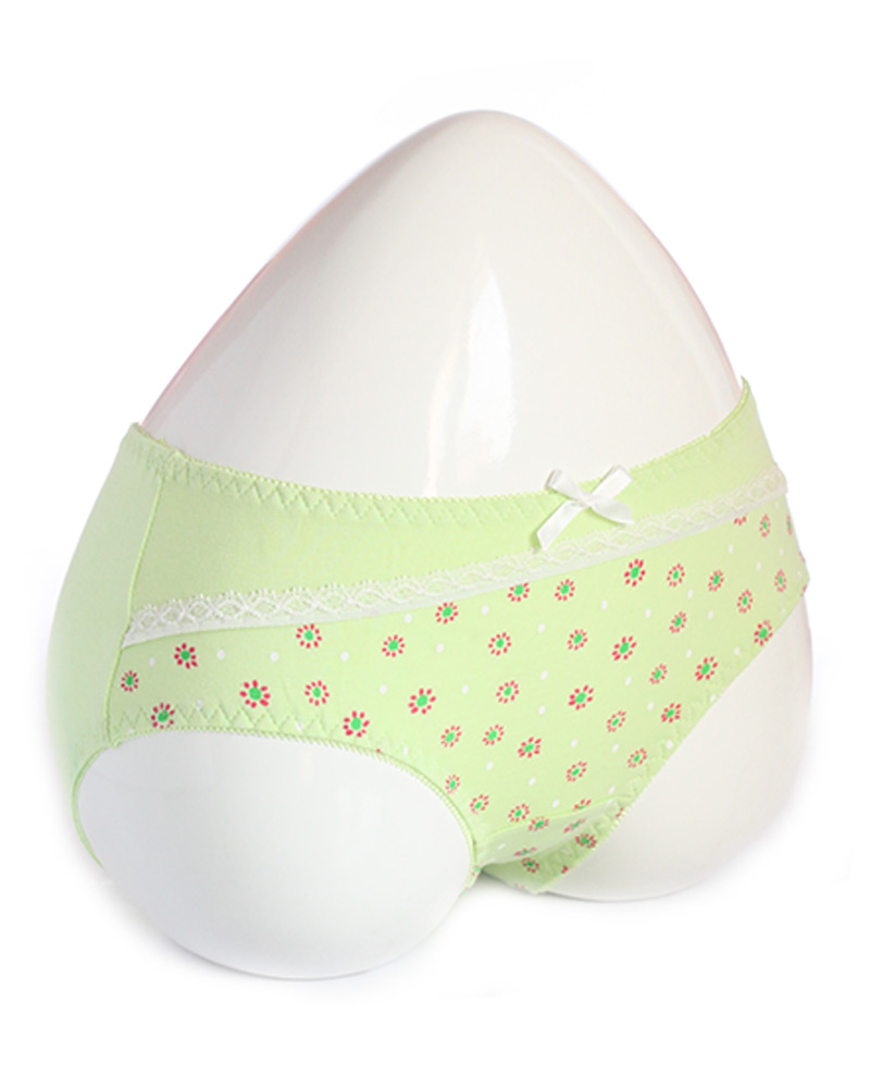 Lime Green Stylish Printed Cotton Panty with Lace