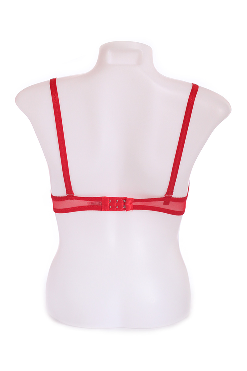 Red Creased Front Underwire Net T-shirt Bra