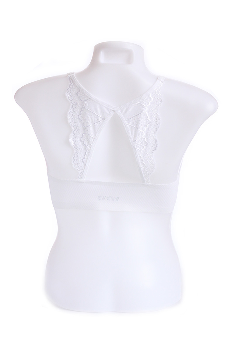 White Seamless Butterfly Design Cage Bra (Free Size)