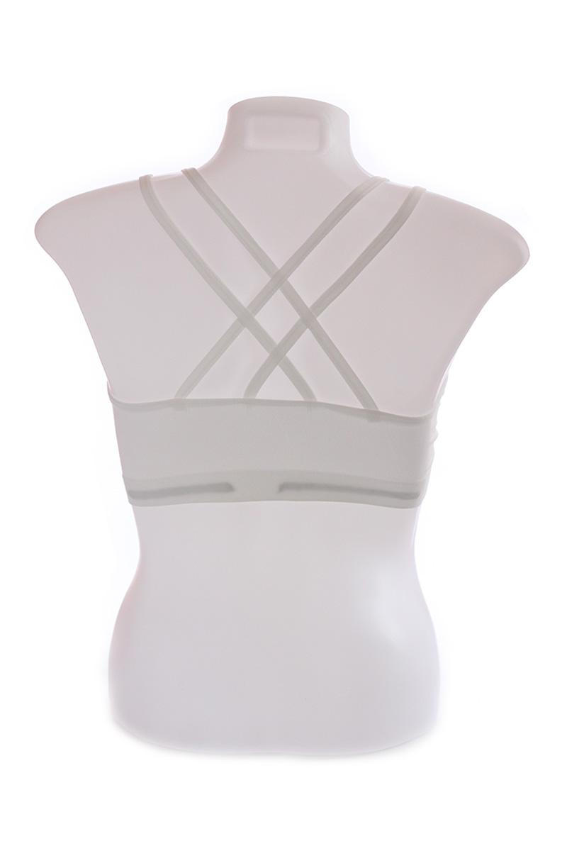 White Strappy Back Cotton Cage Bra (Free Size)