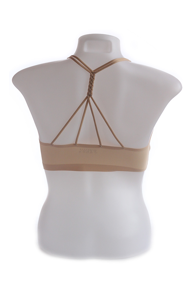 Beige Seamless Cage Bra with Braided Back Design (Free Size)