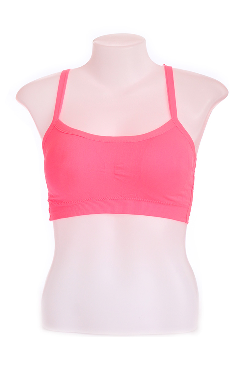820c12f47 ... Pink Lacy Back Cotton Sports Cage Bra (Free Size)