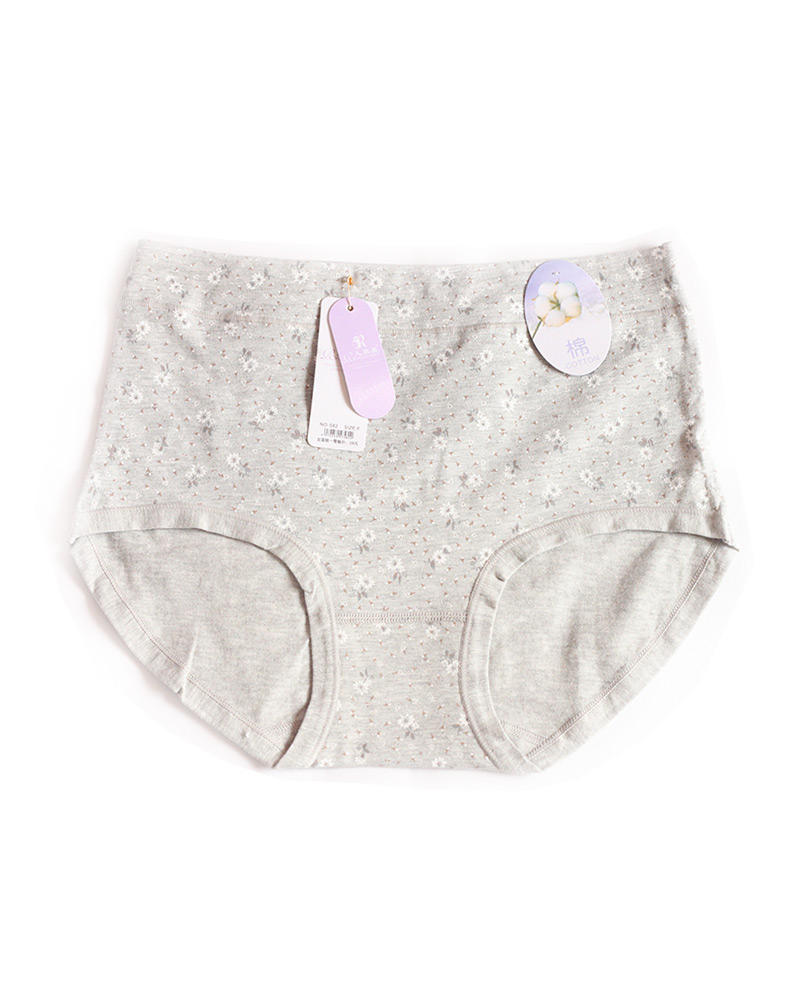 Grey Floral High Waist Plus size Panty