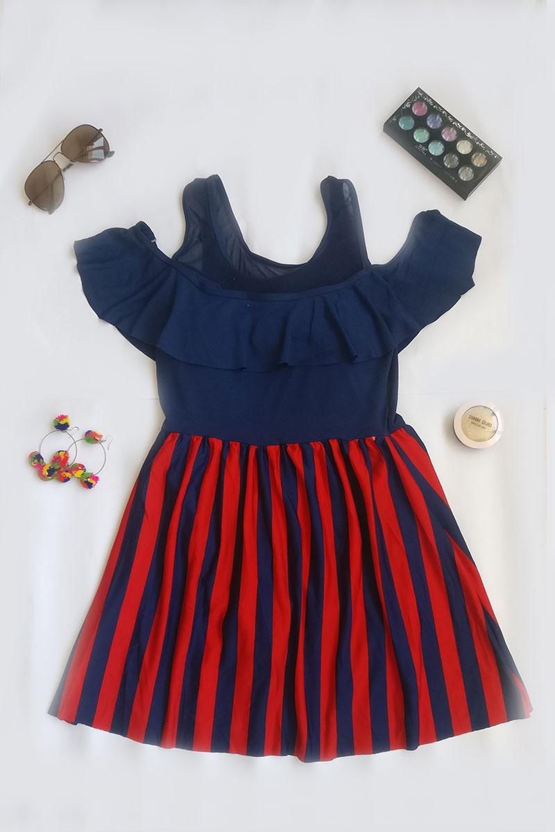 Red & Blue Lining Off Shoulder Swimsuit