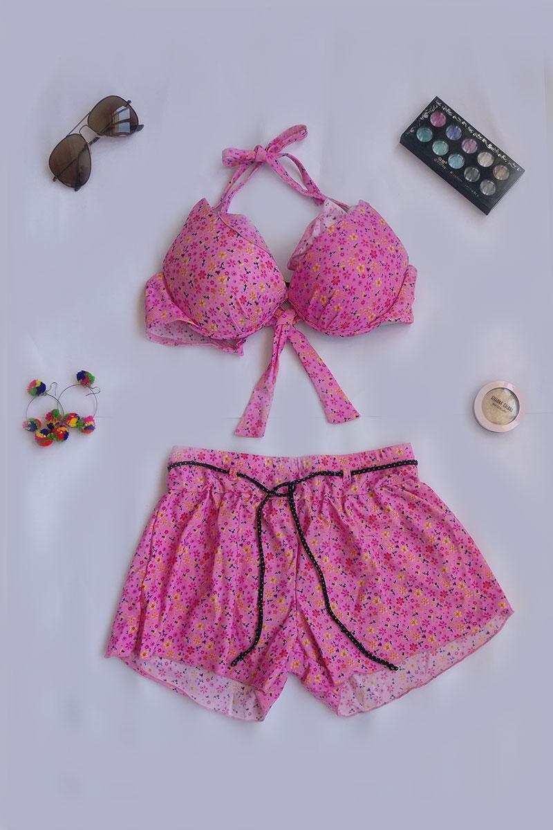 Pink Floral Design Swimsuit