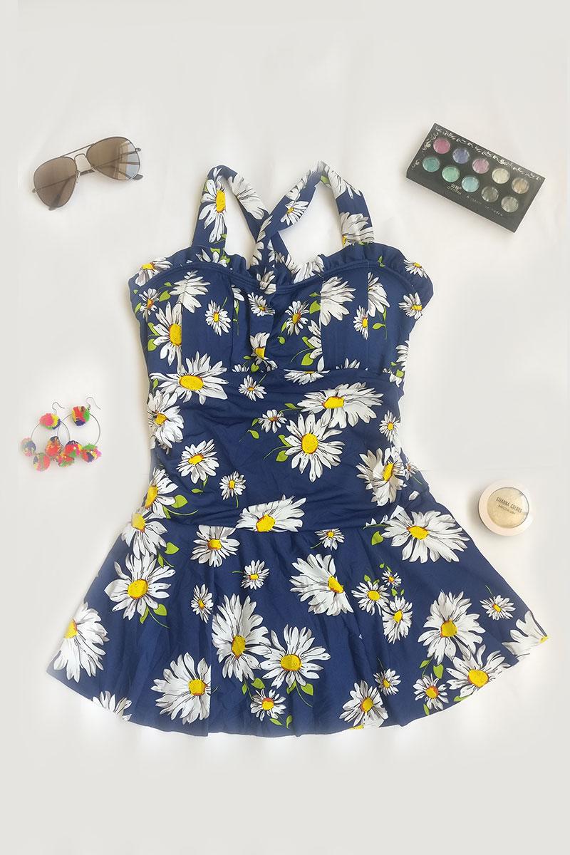 Royal Blue Floral Print Swimsuit