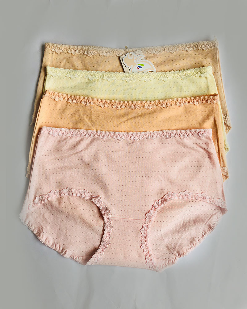 Pack of 4 Mid Waist Textured Cotton Panties Combo