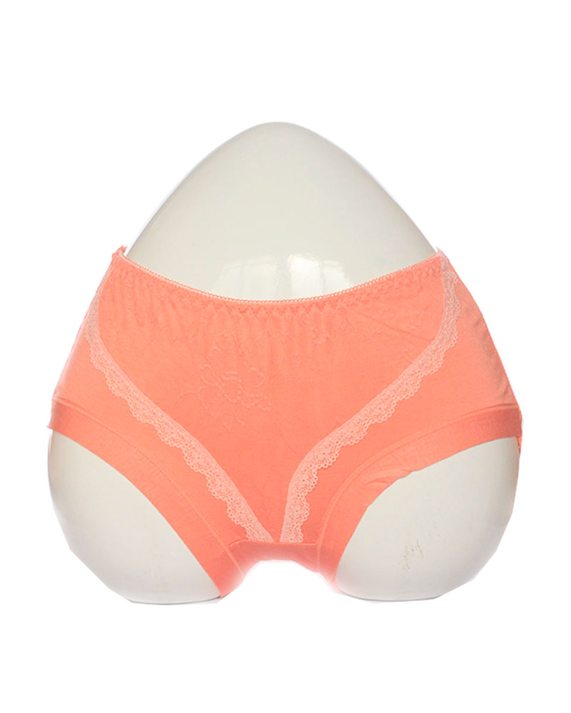 Peach Soft Lace Design Cotton Panty