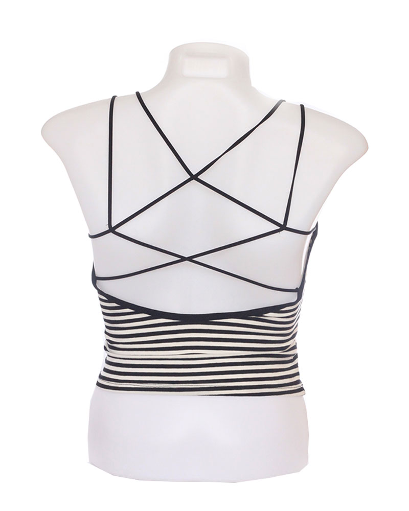 Black and White Striped Padded Crisscross Camisole