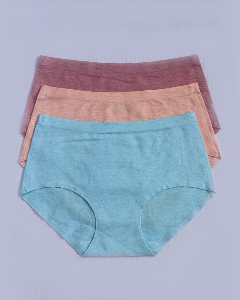 Pack of 3 Plain Seamless Cotton Panties Combo