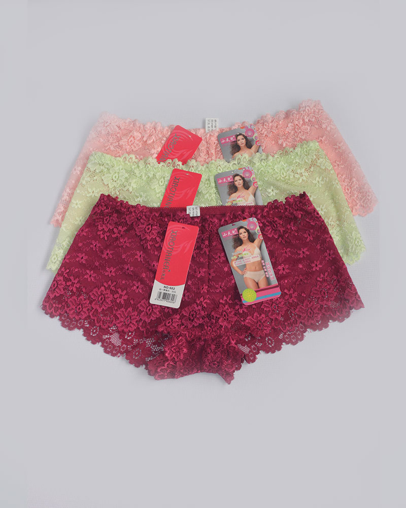 Pack of 3 Floral BoyShort Lace Panties Combo