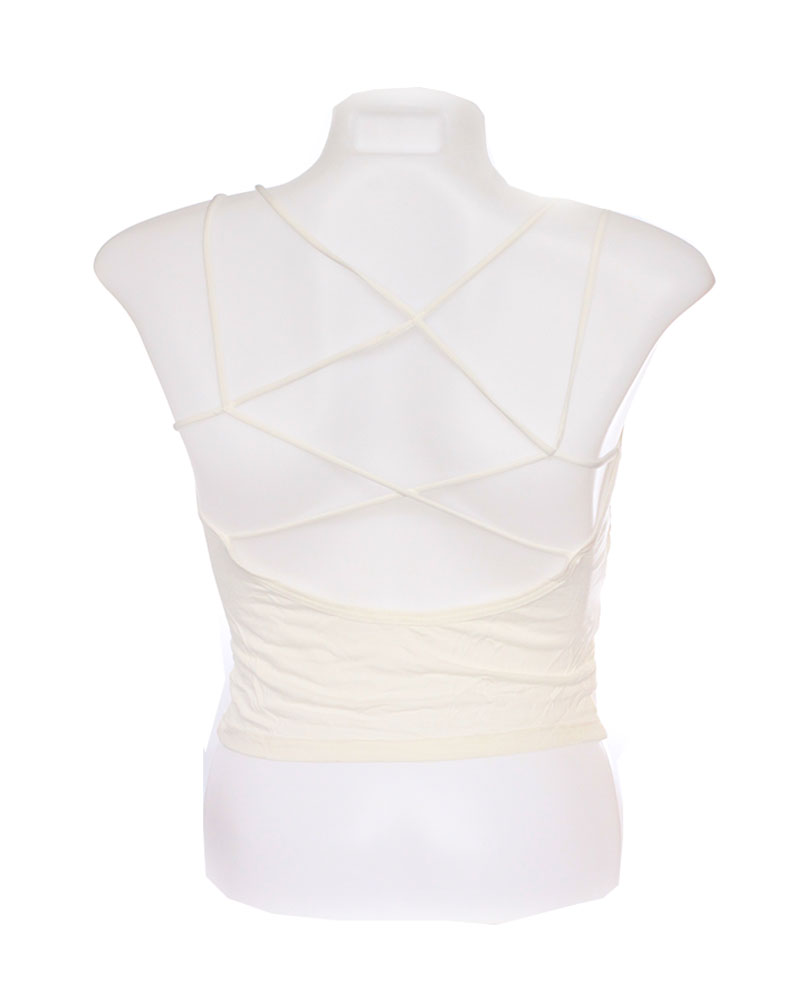 White Striped Padded Crisscross Camisole