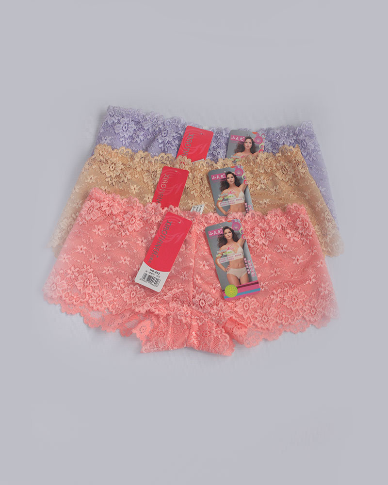 Pack of 3 Floral BoyShort Lace Panties Combo 2