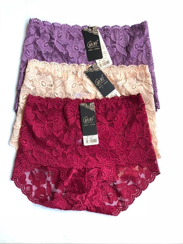 Pack Of 3 Floral High Waist Lace Panties Combo 1