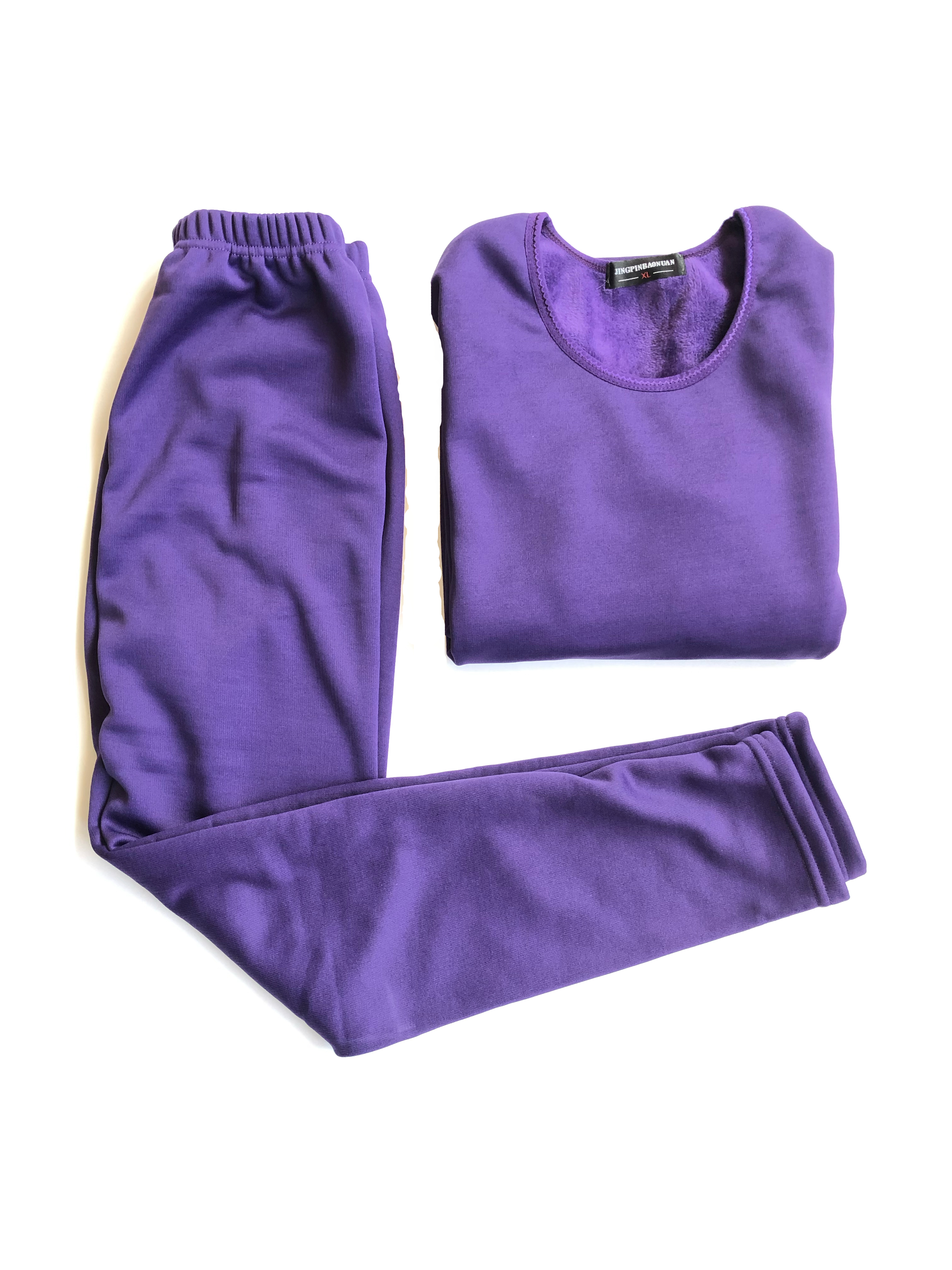 Women's Extreme Cold Waffle Knit Purple Thermal Top and Bottom Set
