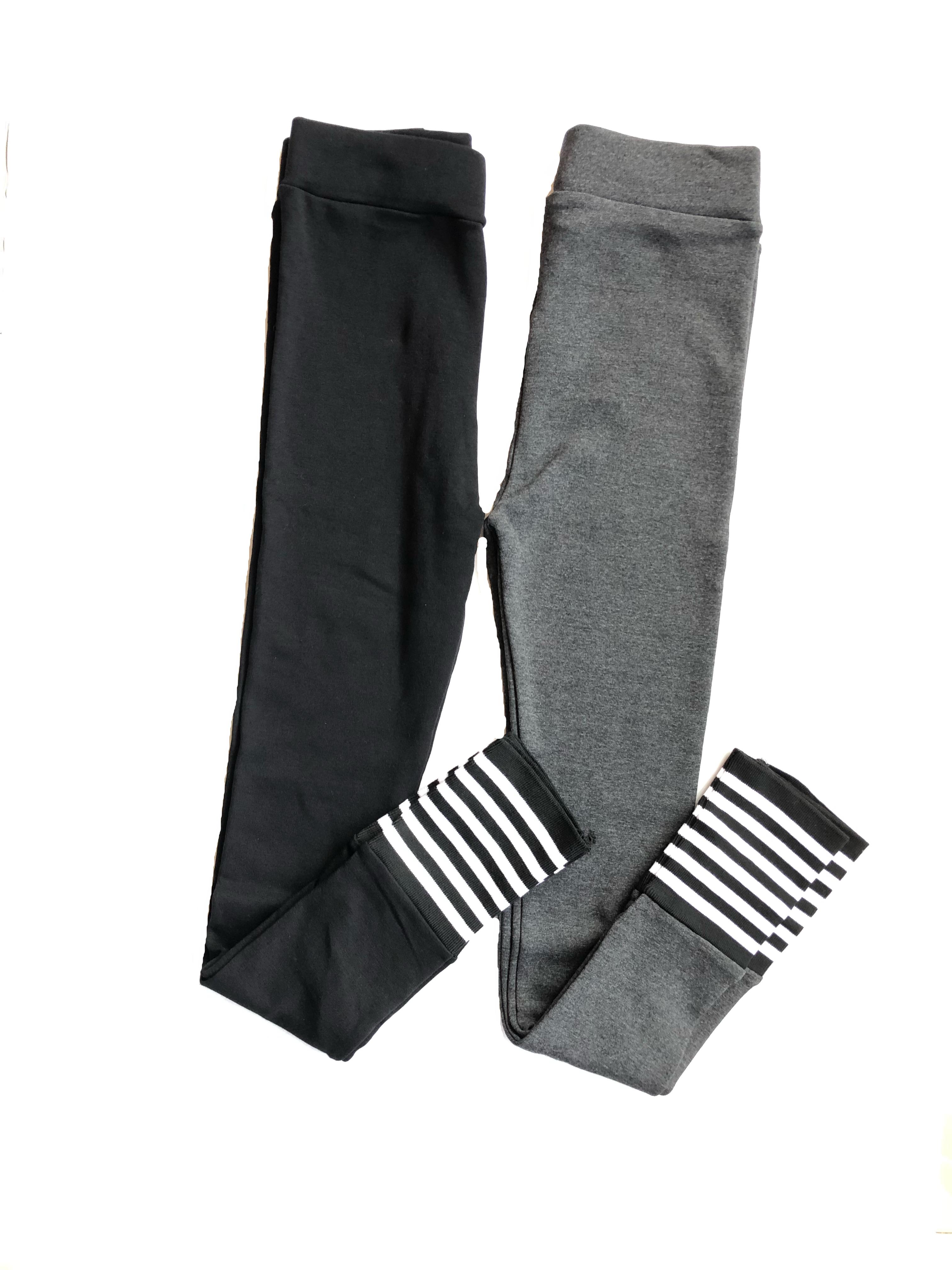 White And Black Striped leggings