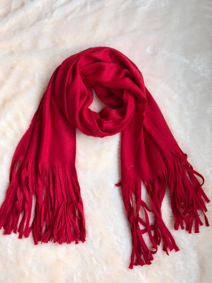 Red Frayed Women Scarf