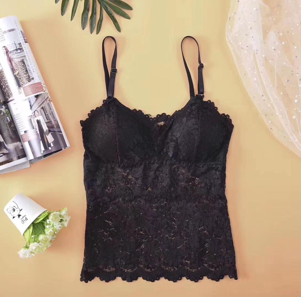 Black Net Floral Print Camisole