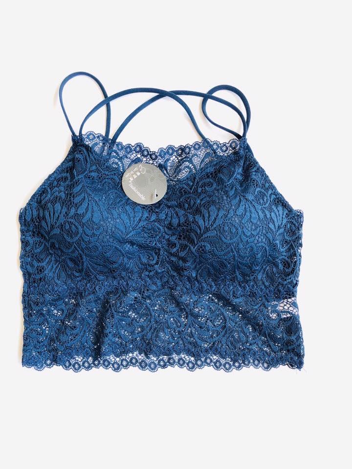 Blue Padded Lace Bralette