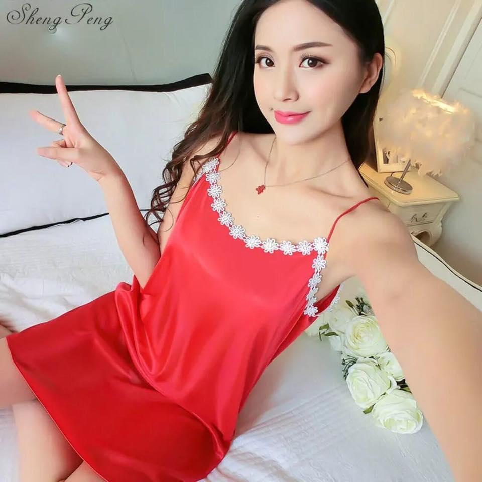 Red  Silk One Piece Nightdress