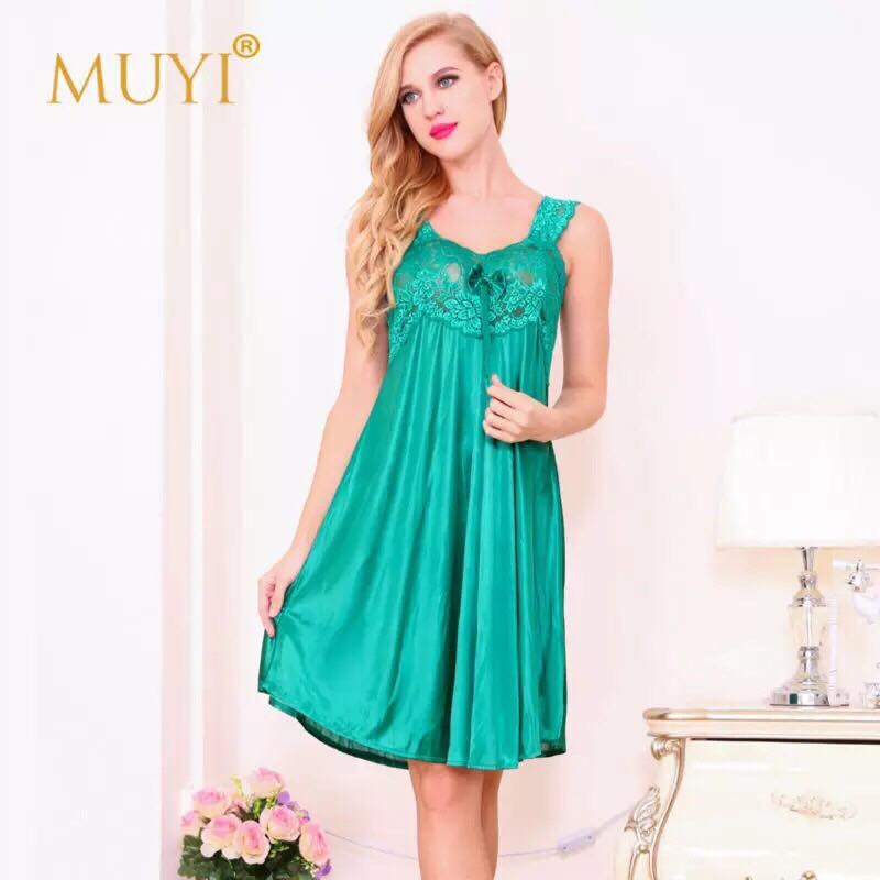Green Silk Front Lace One Piece Nightdress