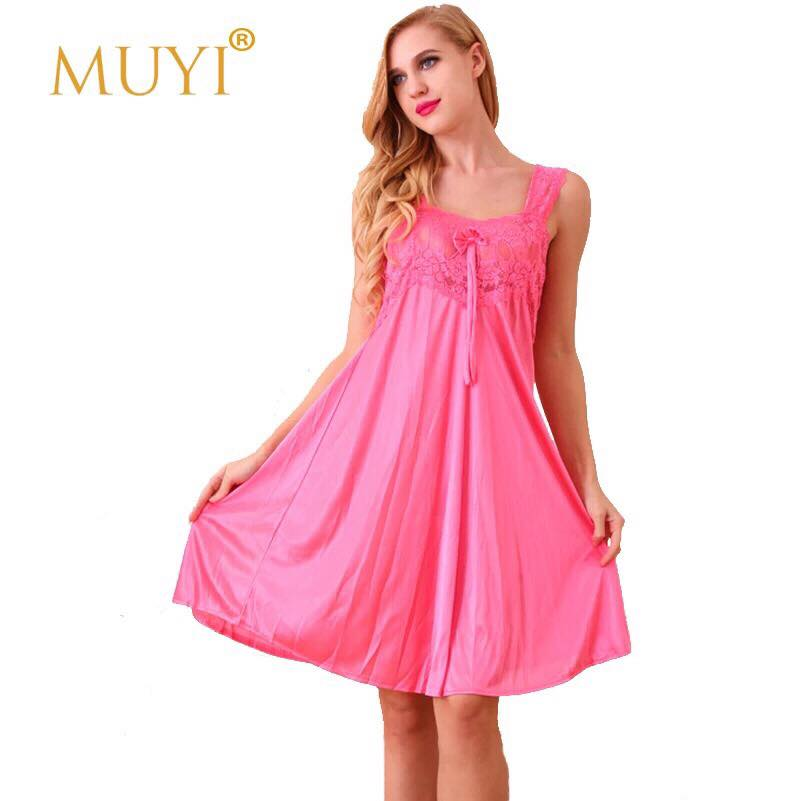 Pink Silk Front Lace One Piece Nightdress