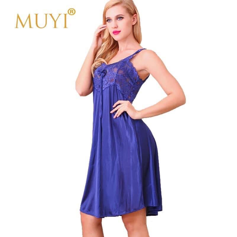 Blue Silk Front Lace One Piece Nightdress