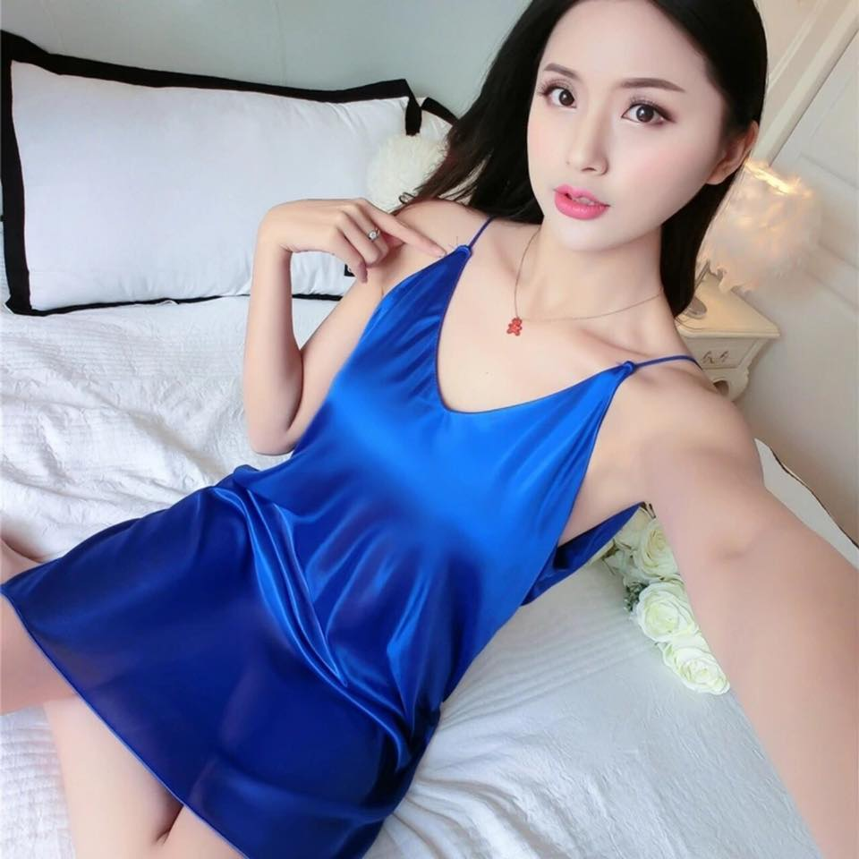 Blue Elegance Silk And Satin Nightdress