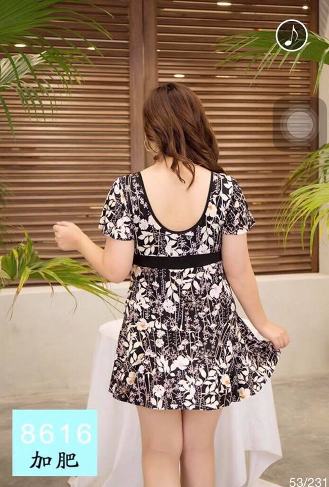 Black Floral Printed Plus Size Swimsuit