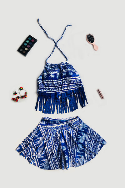 Blue Fringe Halter Neck Elephant Print Swimsuit