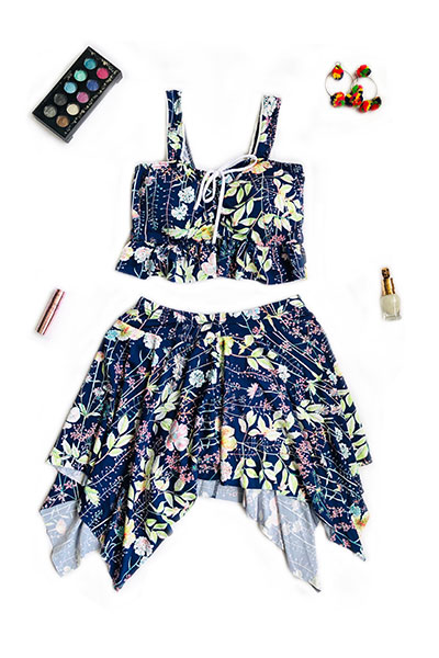Blue Sleeveless Two Piece Swimsuit with Floral Print