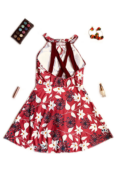 Maroon Floral Swimsuit with Crisscross Back