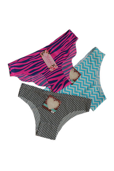 Pack Of 3 Printed Low Cut Seamless Panties Combo 1