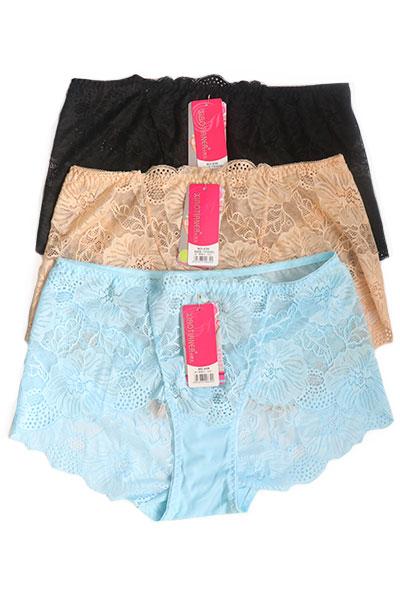 Pack of 3 Floral Net Boy Short Plus Size Panties Combo 1