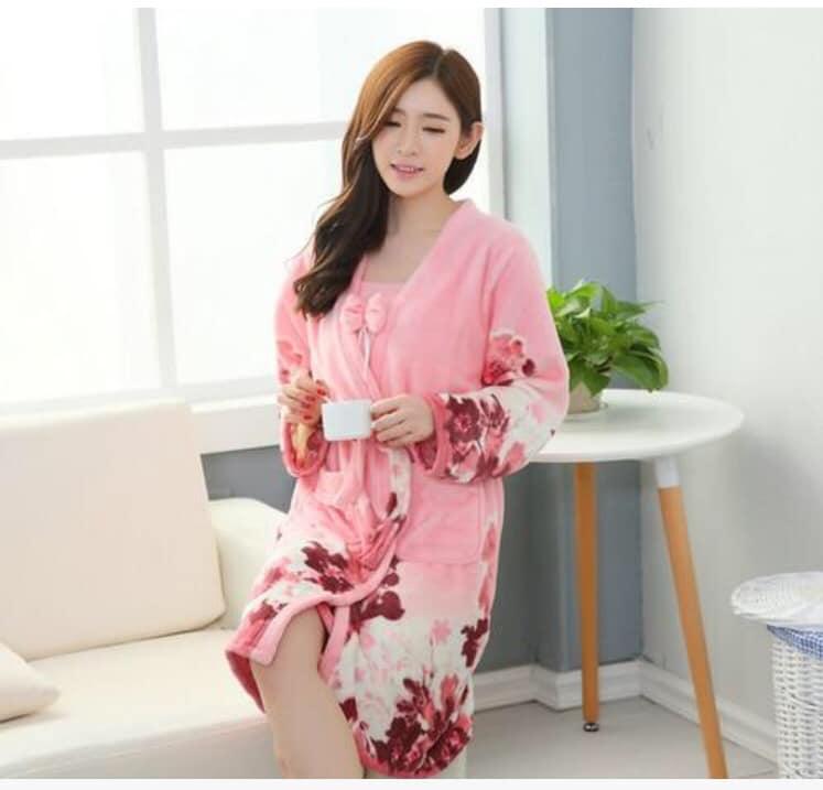 Pink Winter Thick Warm Flower Printed Flannel Bathrobe